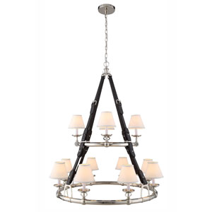 Cascade Polished Nickel Twelve-Light Chandelier