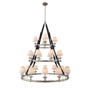 Cascade Polished Nickel 24-Light Chandelier