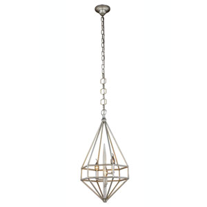 Marquis Vintage Silver Leaf 14-Inch Three-Light Pendant