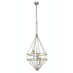 Marquis Vintage Silver Leaf 22-Inch Three-Light Pendant