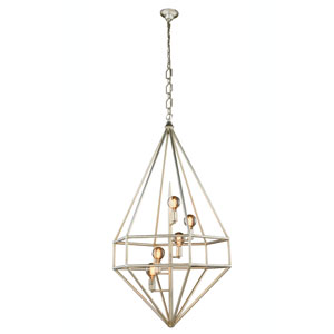Marquis Vintage Silver Leaf Five-Light Pendant