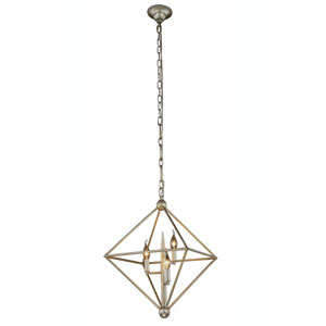 Nora Vintage Silver Leaf Three-Light Pendant