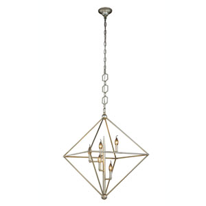 Nora Vintage Silver Leaf Five-Light Pendant