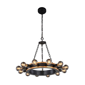 Winston Golden Iron and Vintage Bronze Twelve-Light Chandelier