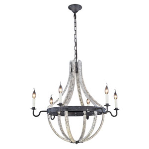 Woodland Ivory Wash and Steel Grey 31-Inch Six-Light Chandelier