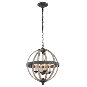 Orbus Ivory Wash and Steel Grey Four-Light Pendant