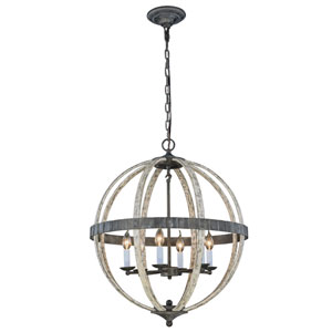 Orbus Ivory Wash and Steel Grey Six-Light Pendant