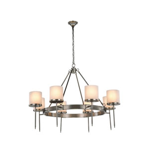 Bradford Vintage Nickel Eight-Light Chandelier