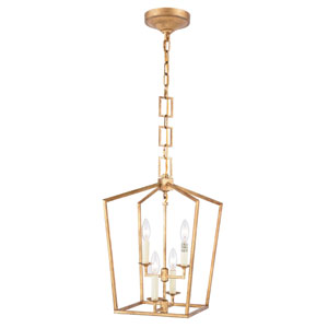 Denmark Golden Iron 17-Inch Four-Light Pendant