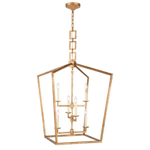 Denmark Golden Iron 24-Inch Six-Light Pendant