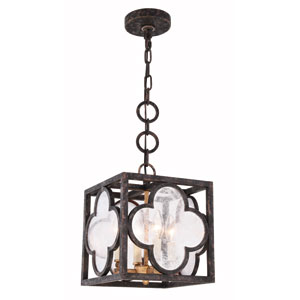Trinity Aged Copper 10-Inch Four-Light Pendant with Seeded Glass