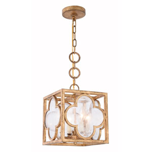 Trinity Golden Iron 10-Inch Four-Light Pendant with Seeded Glass