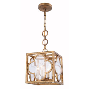 Trinity Golden Iron 10-Inch Four-Light Pendant with Clear Glass