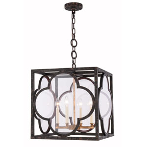 Trinity Aged Copper 18-Inch Four-Light Pendant with Clear Glass