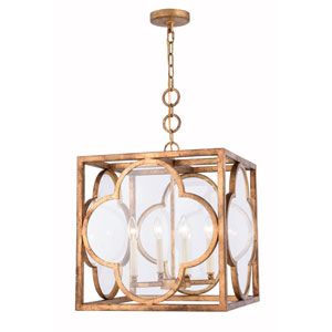 Trinity Golden Iron 18-Inch Four-Light Pendant with Clear Glass