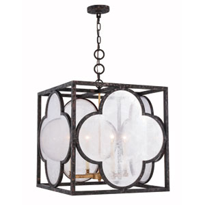 Trinity Aged Copper 22-Inch Four-Light Pendant with Seeded Glass