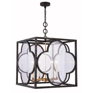 Trinity Aged Copper 22-Inch Four-Light Pendant with Clear Glass