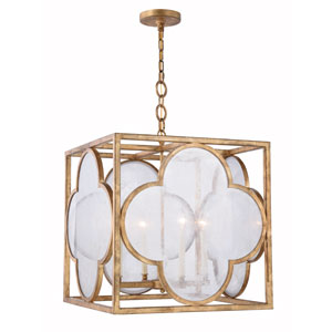 Trinity Golden Iron 22-Inch Four-Light Pendant with Seeded Glass