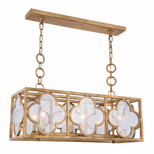 Trinity Golden Iron 10-Inch Six-Light Pendant with Seeded Glass