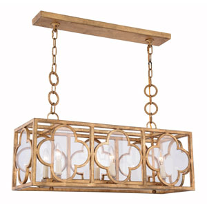 Trinity Golden Iron 10-Inch Six-Light Pendant with Clear Glass