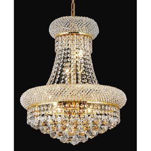 Primo Gold Eight-Light 16-Inch Chandelier with Royal Cut Clear Crystal