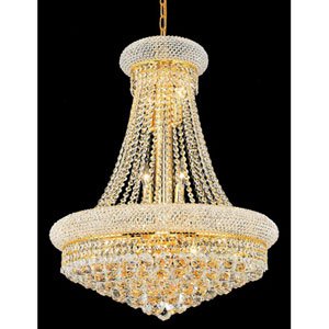 Primo Gold Fourteen-Light 24-Inch Chandelier with Royal Cut Clear Crystal
