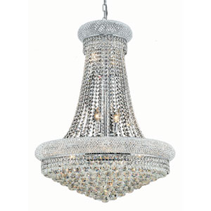 Primo Chrome Fourteen-Light 28-Inch Chandelier with Elegant Cut Clear Crystal