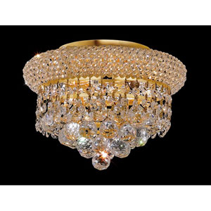 Primo Gold Three-Light Flush Mount with Royal Cut Clear Crystal