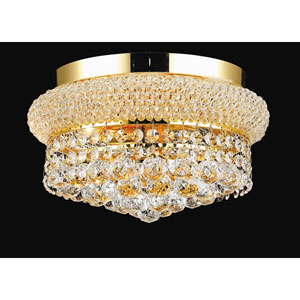 Primo Gold Four-Light Flush Mount with Royal Cut Clear Crystal