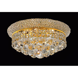 Primo Gold Six-Light Flush Mount with Royal Cut Clear Crystal