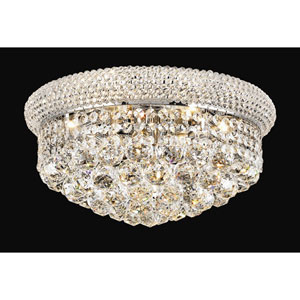 Primo Chrome Eight-Light Flush Mount with Royal Cut Clear Crystal