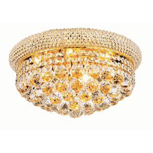 Primo Gold Eight-Light Flush Mount with Royal Cut Clear Crystal