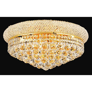 Primo Gold Ten-Light Flush Mount with Royal Cut Clear Crystal