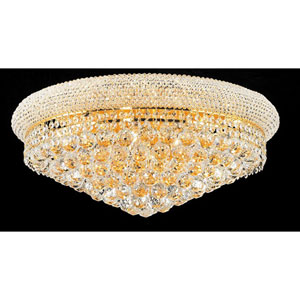 Primo Gold Twelve-Light Flush Mount with Royal Cut Clear Crystal