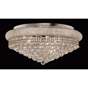 Primo Chrome Fifteen-Light Flush Mount with Royal Cut Clear Crystal
