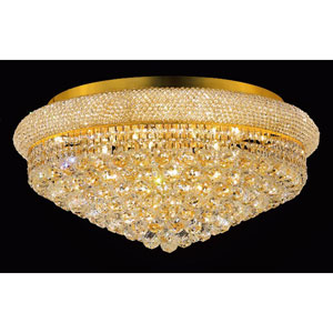 Primo Gold Fifteen-Light Flush Mount with Royal Cut Clear Crystal