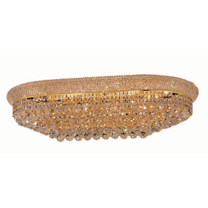 Primo Gold Eighteen-Light Oblong Flush Mount with Royal Cut Clear Crystal