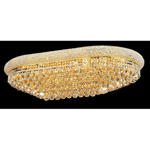 Primo Gold Twenty-Four Light Oblong Flush Mount with Royal Cut Clear Crystal