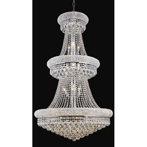 Primo Chrome Thirty-Two Light Three-Tier 30-Inch Chandelier with Royal Cut Clear Crystal
