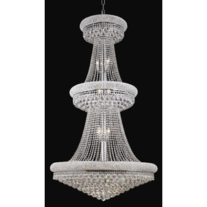 Primo Chrome Thirty-Two Light Three-Tier 36-Inch Chandelier with Royal Cut Clear Crystal