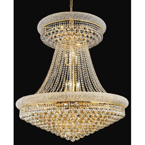 Primo Gold Twenty-Eight Light Chandelier with Royal Cut Clear Crystal