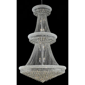 Primo Chrome Thirty-Eight Light 42-Inch Three-Tier Chandelier with Royal Cut Clear Crystal