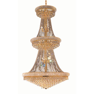 Primo Gold Thirty-Eight Light 42-Inch Three-Tier Chandelier with Royal Cut Clear Crystal