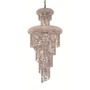 Spiral Chrome Ten-Light 16-Inch Chandelier with Royal Cut Clear Crystal