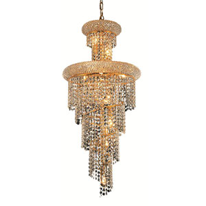 Spiral Gold Ten-Light 16-Inch Chandelier with Royal Cut Clear Crystal