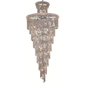 Spiral Chrome Thirty-Two Light 36-Inch Chandelier with Royal Cut Clear Crystal