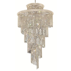 Spiral Chrome Forty-One Light 48-Inch Chandelier with Royal Cut Clear Crystal