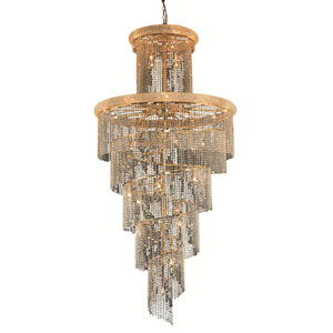 Spiral Gold Forty-One Light 48-Inch Chandelier with Royal Cut Clear Crystal