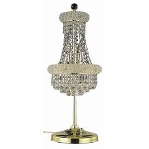 Primo Gold Six-Light Table Lamp with Clear Royal Cut Crystals
