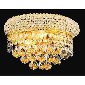 Primo Gold Two-Light 12-Inch Wall Sconce with Royal Cut Clear Crystal